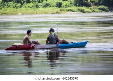 Pak ou village in Luang Prabang, Laos, there is a cave - Tam Ting caves or Pak Ou Caves. A cave located in the middle of a large mountain, Mekong River, and Uong River.Boat trip across the river.