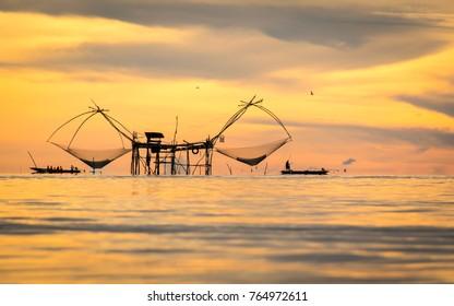 Pak Pra Phatthalung with fish trap in the lake