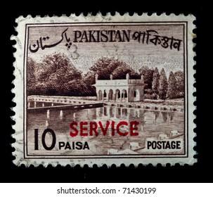 PAKISTAN - CIRCA 1950s: A stamp printed in Pakistan shows Shalimar Gardens - Lahore, circa 1950s