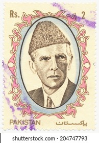 PAKISTAN - CIRCA 1989: A stamp printed in Pakistan shows portrait of Muhammad Ali Jinnah (1876-1948) was a lawyer, politician, founder of Pakistan, circa 1989