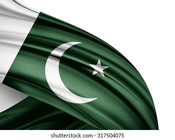 Pakistan   flag of silk with copyspace for your text or images and white background