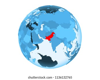 Pakistan highlighted in red on blue political globe with transparent oceans. 3D illustration isolated on white background.