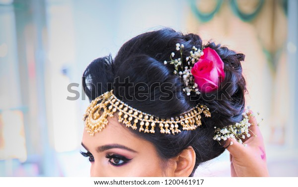 Pakistan Indian Bridal Showing Wedding Hair Stock Photo Edit Now