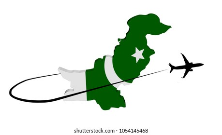 Pakistan map flag with plane silhouette and swoosh 3d illustration