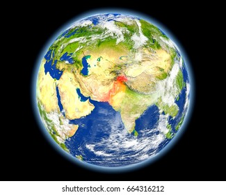 Pakistan on planet Earth. 3D illustration with detailed planet surface. Elements of this image furnished by NASA.