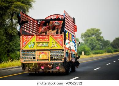 PAKISTAN PUNJAB 2017 5 AUGUST : Pakistani Truck on the motorway towards Lahore