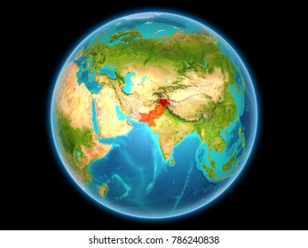 Pakistan in red on planet Earth as seen from space on full sphere. 3D illustration. Elements of this image furnished by NASA.