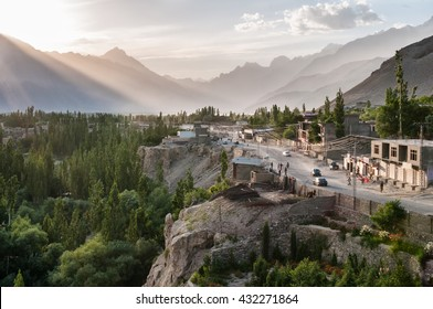 Pakistan, Skardu, June 2015 - Street in Skardu, mountain town, from which every expedition to K2, Broad Peak, Gasherbrums and other high Karakorum mountains starts
