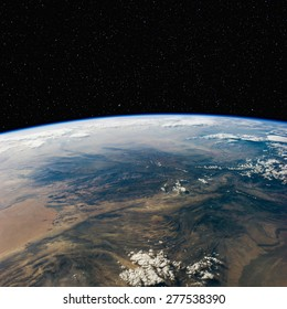 Pakistan from space with stars above. Elements of this image furnished by NASA.