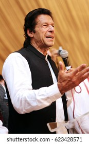 Pakistan Tehreek-e-insaf chairman Imran Khan speaknig on mic in the youth convention 06/04/2013