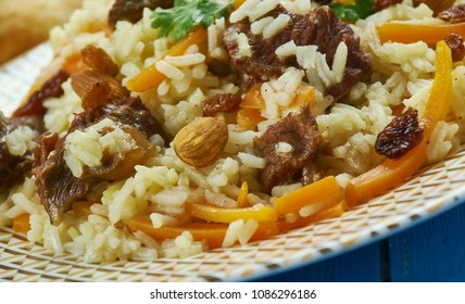 Pakistani cuisine , Kabuli Pulao, Traditional assorted dishes, Top view.