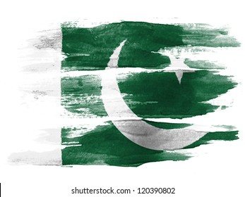The Pakistani flag painted on  white paper with watercolor