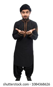 Pakistani, Indian, Arabic Muslim boy is praying and performing dua to Allah in black kameez shalwar isolate on white background. different views front and left view.