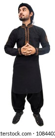 Pakistani Indian Arabic Muslim boy man thinking with hand on face, in black kameez shalwar Cropped and full shot of thoughtful young man standing by the white background isolated with black scarf.