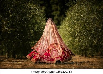 Pakistani Indian bridal showing wedding lengha