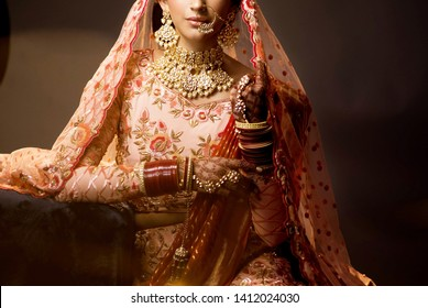 Pakistani Indian bridal showing wedding dress and wedding jewelry Karachi, Pakistan, May 01, 2019