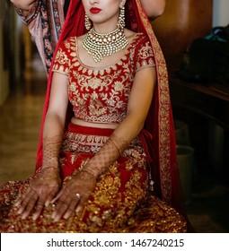 Pakistani Indian Bridal showing wedding necklace and earrings Islamabad, Pakistan, 15 July 2019