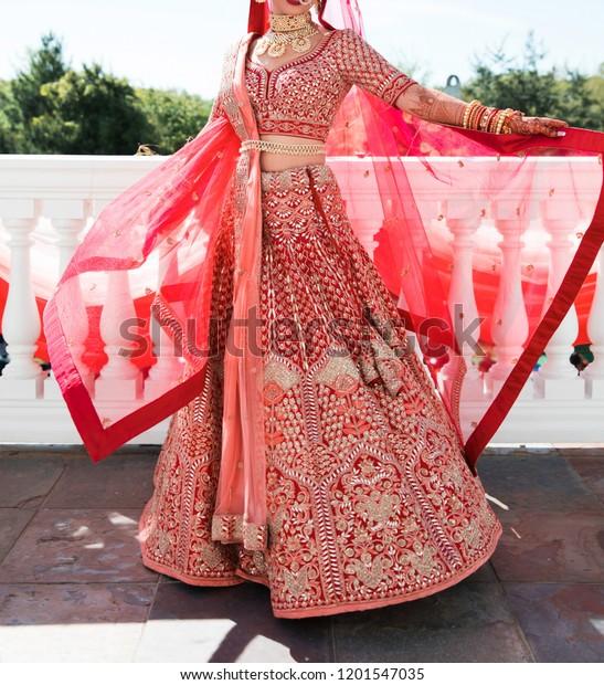 Pakistani Indian Bridal Showing Wedding Lehenga Stock Photo Edit Now 1201547035