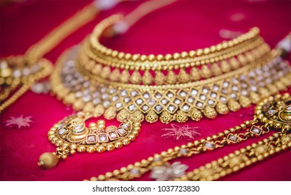 Pakistani & Indian bridal wedding Gold jewelry (Ring, Bangles, Necklace & earrings)
