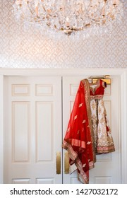 Pakistani Indian bridal wedding red & white ghoonghat and lehenga outfit