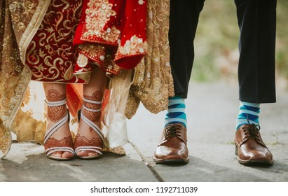 Pakistani Indian bride and groom's wedding shoes and sandals