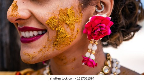 Pakistani Indian bride with turmeric haldi paste on her face Lahore, Pakistan, 30 August, 2019