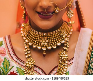 Pakistani Indian bride's showing Necklace and nose earring jewelry Karachi, Pakistan, September 01, 2018