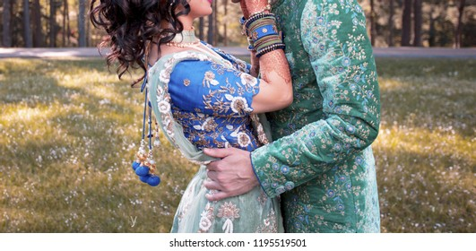 Pakistani Indian lovebirds hugging first look her wedding day