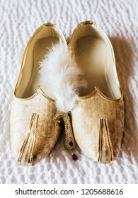 Pakistani Indian Traditional Groom wedding Golden Kussa shoes