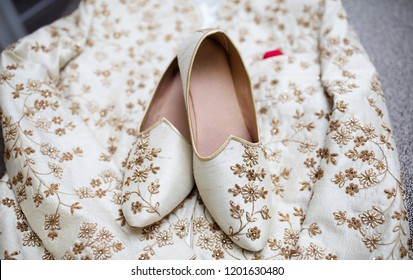 Pakistani Indian wedding sherwani and matching Khussa shoes