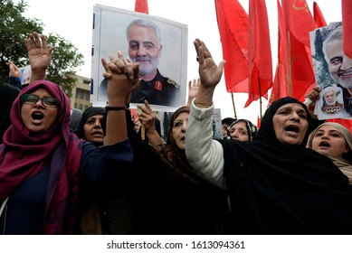Pakistani Shi'ite Muslims gesture during a protest against U.S. over the death of Iranian Major-General Qassem Soleimani, who was killed in an air strike near Baghdad, in Lahore, Pakistan Jan 12.2020.