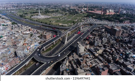 Pakistan-Lahore , Aerial View Of Minar-E-Pakistan, Badshahi Masjid, Azadi interchange in Lahore on October, 06,2018