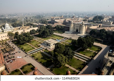 Pakistan,Lahore a general view of Hazuri Bagh  garden in Lahore, Punjab, Badshahi Mosque to the west, the Samadhi of Ranjit Singh to the north, and the Roshnai Gate to the south on February 09,2018