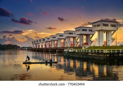 Pakpanang Morning light Utho Wipat prasit floodgates at sunset in pak phanang, nakhon si thammarat, thailand Architecture