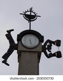 Pakruojis , LITHUANIA -  MAY 1,2010 - City clock in the square.