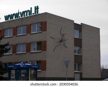 Pakruojis, LITHUANIA -  MAY 1,2010 - Sculpture of a mosquito on a residential building.