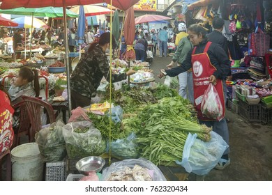 Pakse,Laos - November 24th, 2017: Busy wet market with unidentified people in Pakse Laos