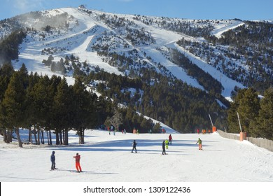Pal, Arinsal / Andorra - January 11th 2019: The ski slopes of Pal in Andorra with winter sports fans out on the piste.