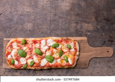 Pala romana's pizza on top view rustic still life composition