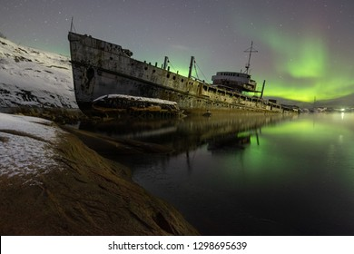 Pala-Bay, abandoned ship.  Murmansk region, December 2018.