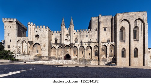 Pope's Palace in Avignon at Place du Palais. Vaucluse, Provence, France, Europe.