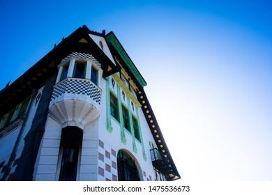 Palace Baburizza Valparaiso Chile sky blue