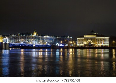 Palace bridge at night. Saint-Petersburg. Russia.
