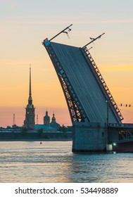 Palace Bridge and Peter and Paul Cathedral. The White Nights in St.-Petersburg, Russia