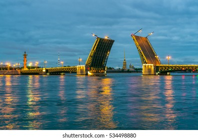 Palace Bridge. The White Nights in St.-Petersburg, Russia