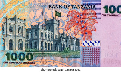 Palace. Button on Nyerere's jacket, Portrait from Tanzania 1000 Shillings 2003 Banknotes. Tanzania money, Tanzania bank note. Closeup Collection.