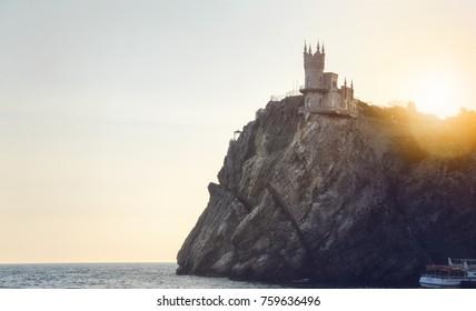 Palace castle Swallow's Nest. Yalta, Republic of Crimea, Russia.