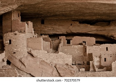 The palace cliff dwelling of the ancient Puebloan Native Americans at Mesa Verde national park located in Colorado.