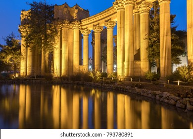 The Palace Colonnade Reflections. Palace Of Fine Arts colonnade reflected by the artificial pond at Dusk. Marina District, San Francisco, California, USA.