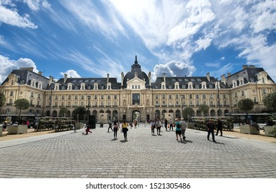Palace of Commerce, Rennes, France - September 24, 2019: Rennes is the prefecture of the Brittany region, north-west of France.